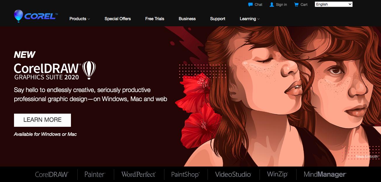 Corel website