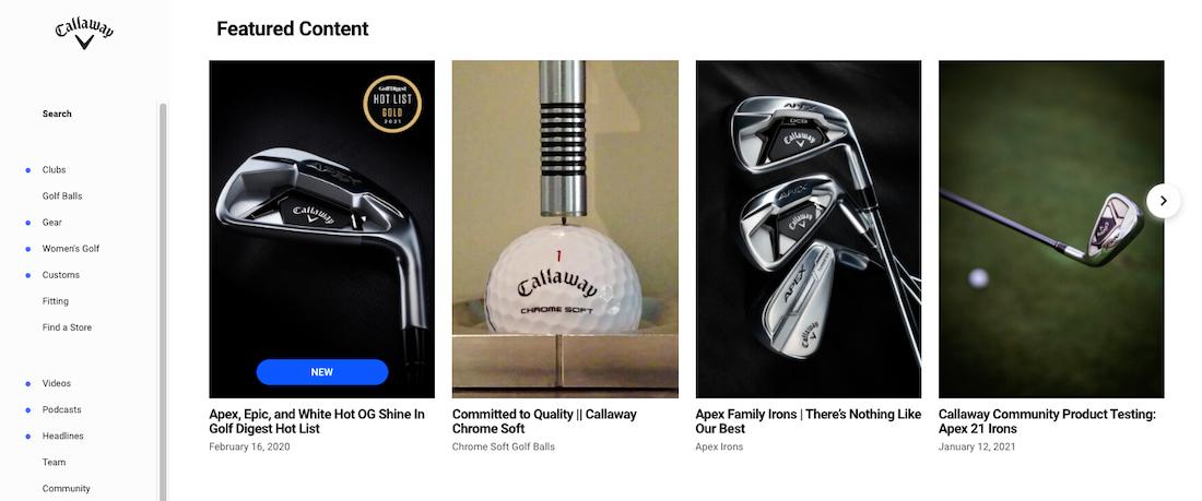 Callaway Golf website