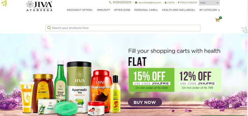 Jiva Ayurveda website