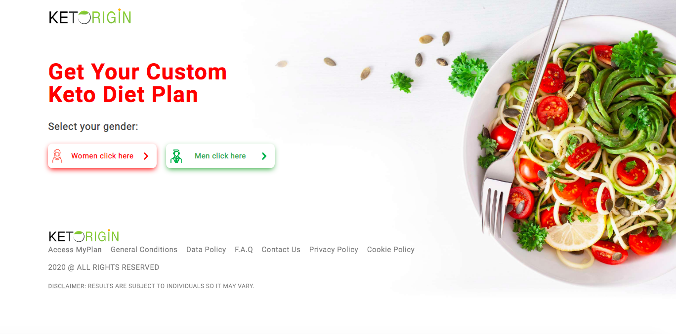 Keto Origin website