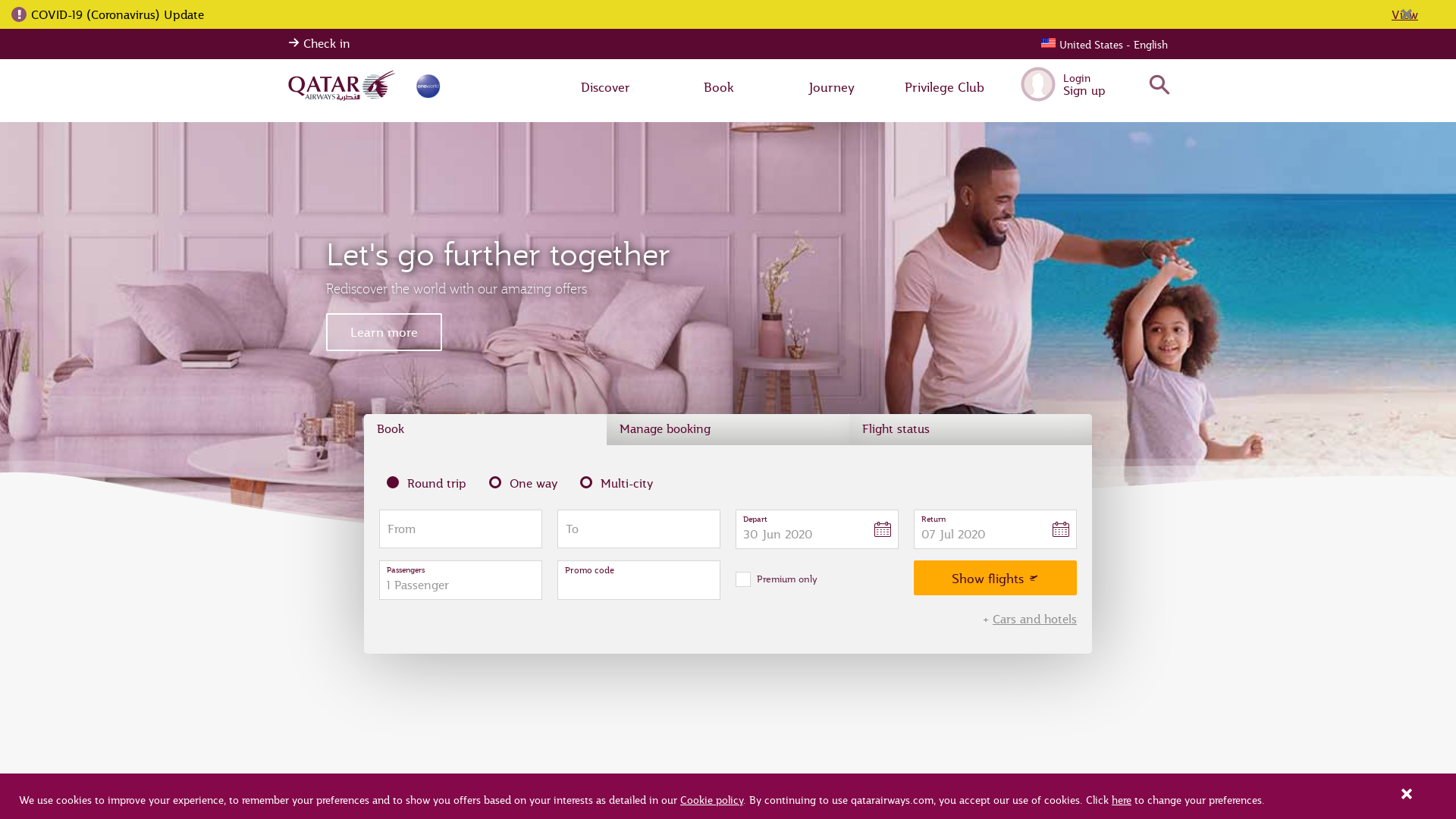 Qatar Airways WW website