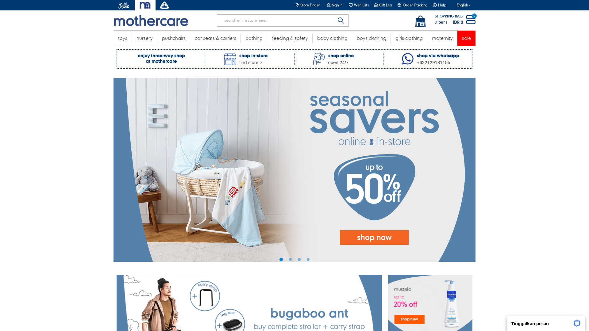 Mothercare Indonesia website