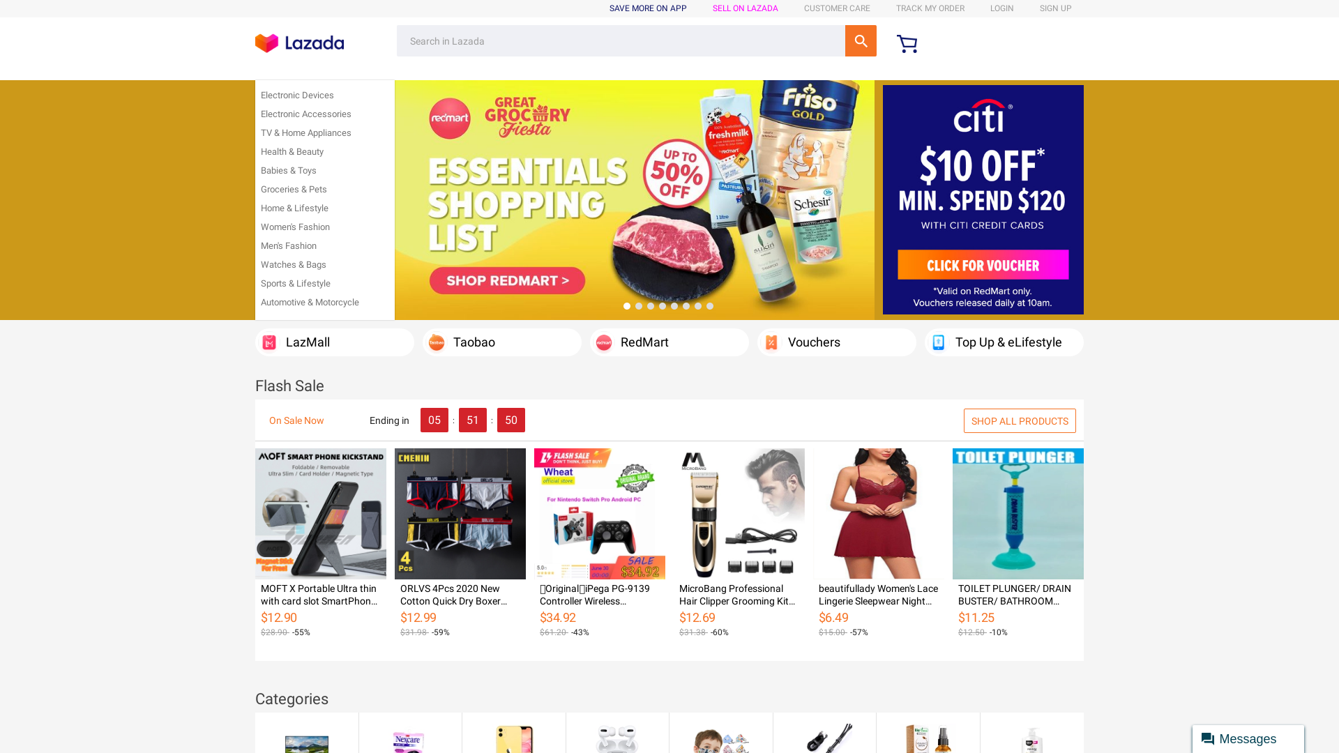 Lazada Singapore website