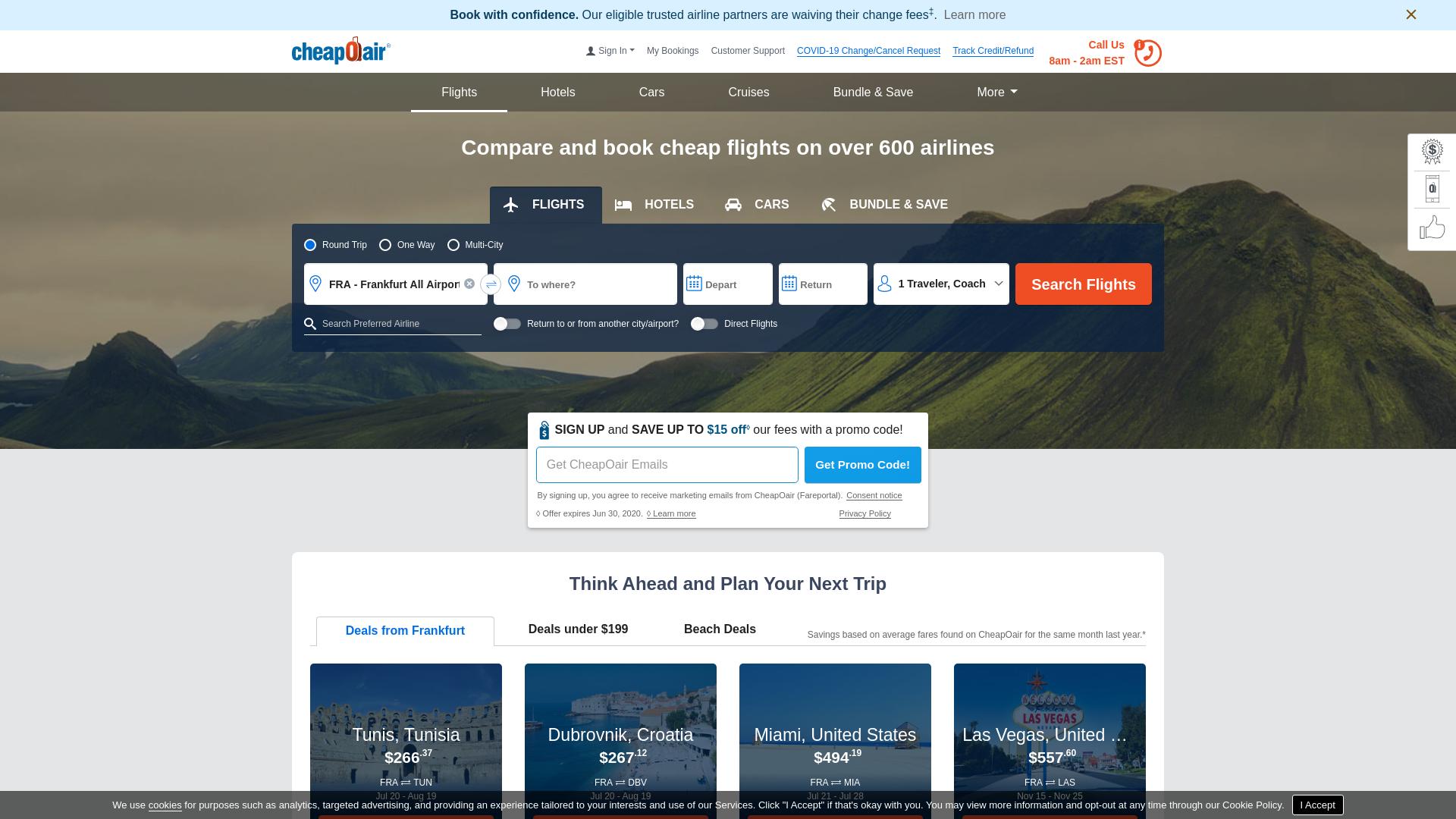 CheapOAir website