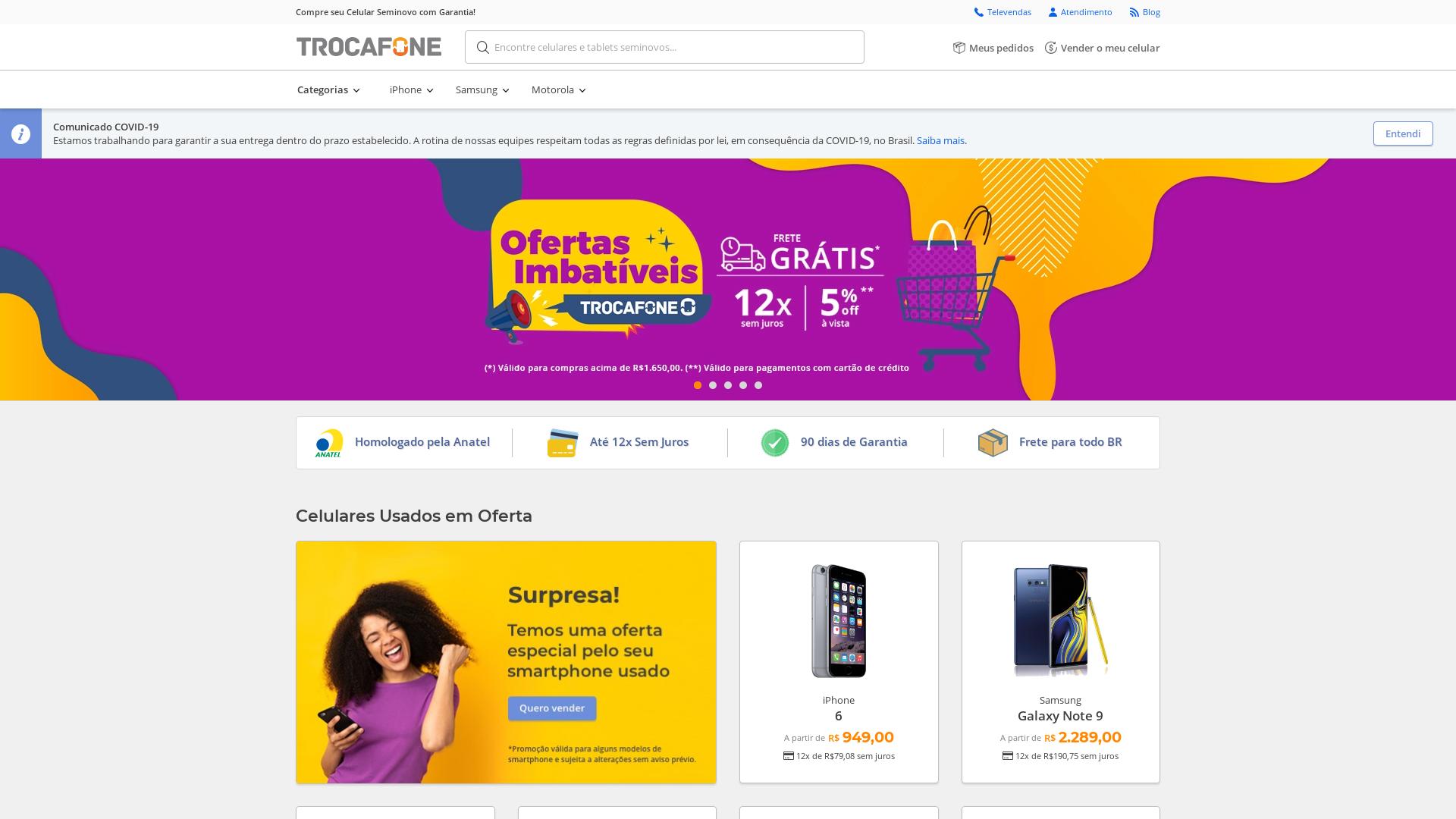 Trocafone Brazil website