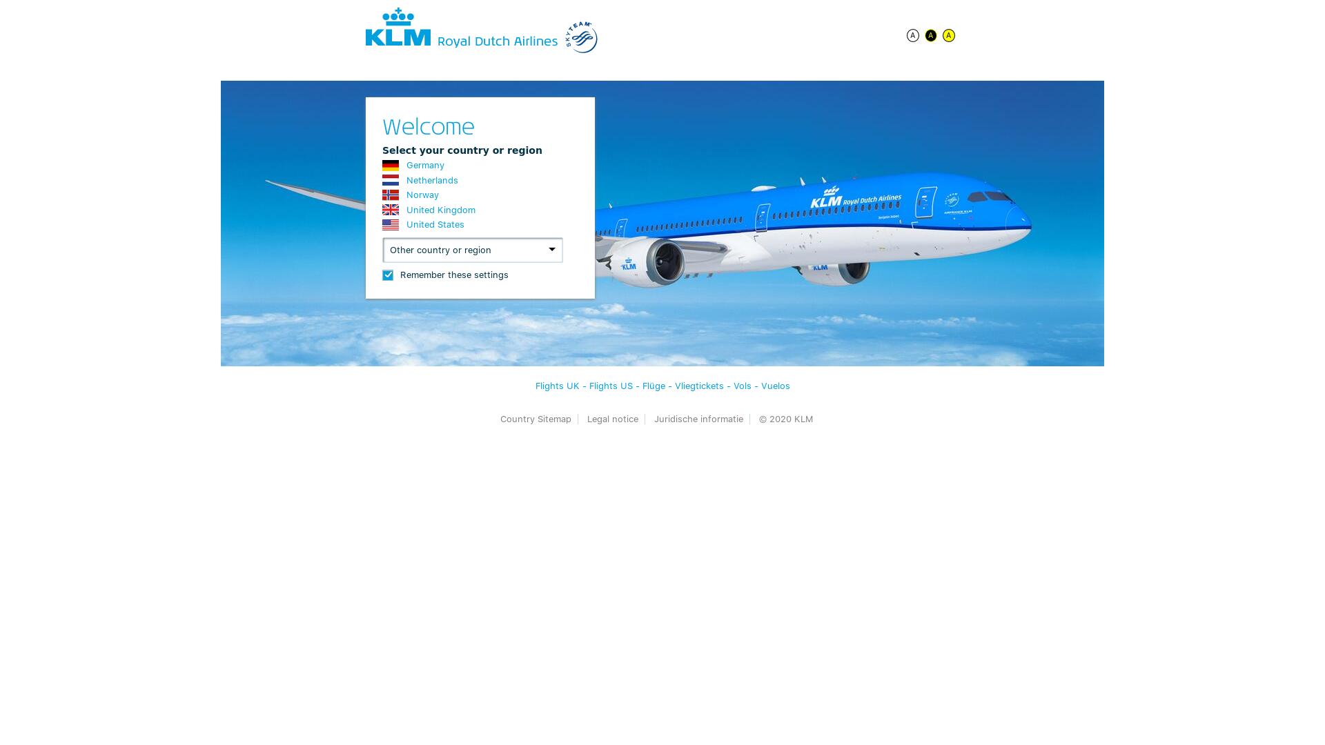 KLM Airlines website