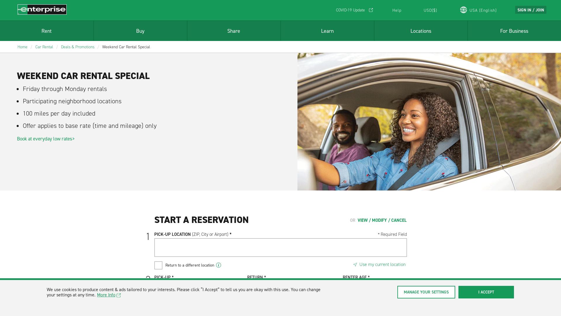 Enterprise Rent a Car USA / CPS website