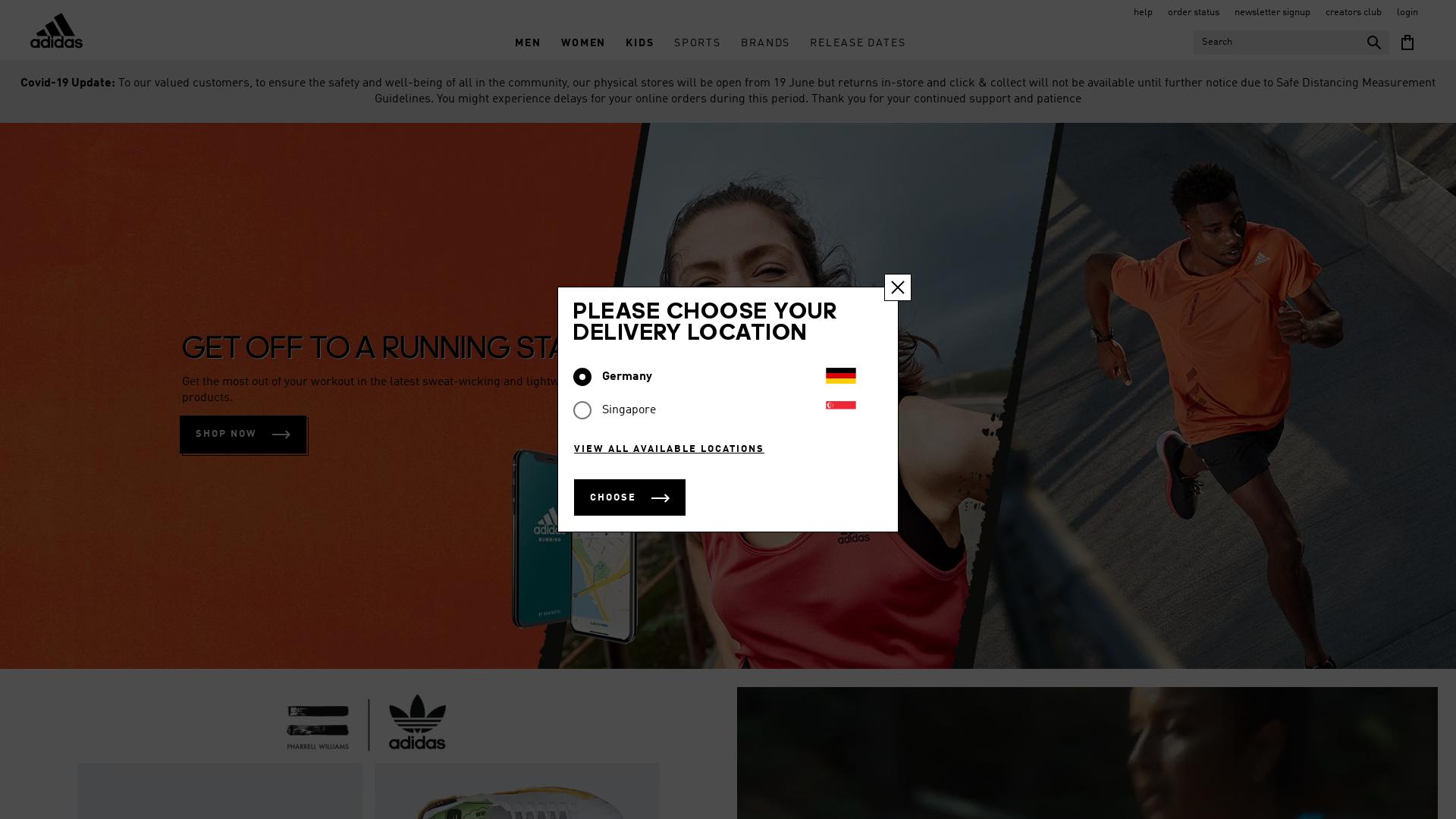 Adidas SG & ID website