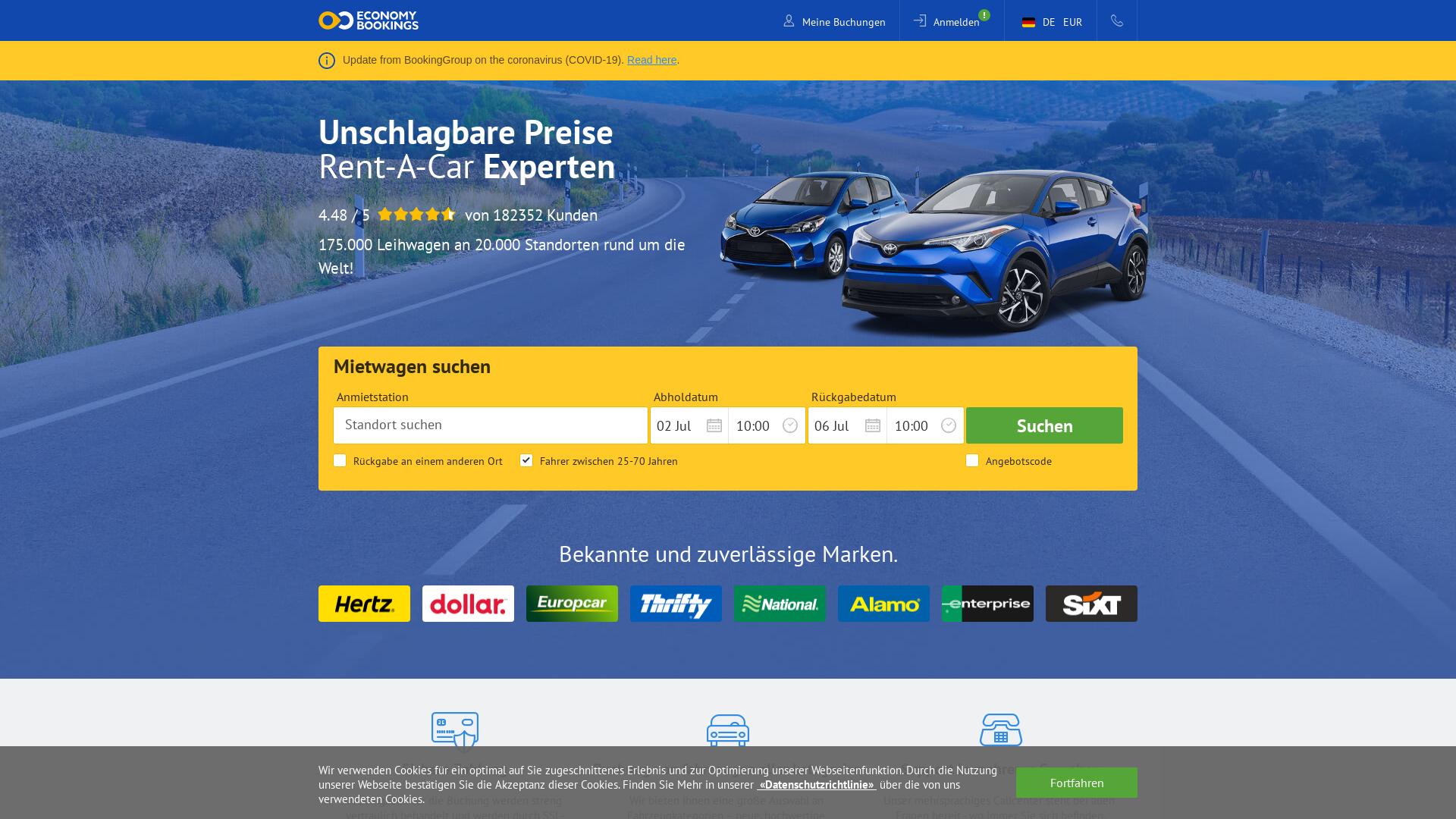 Economy Bookings website