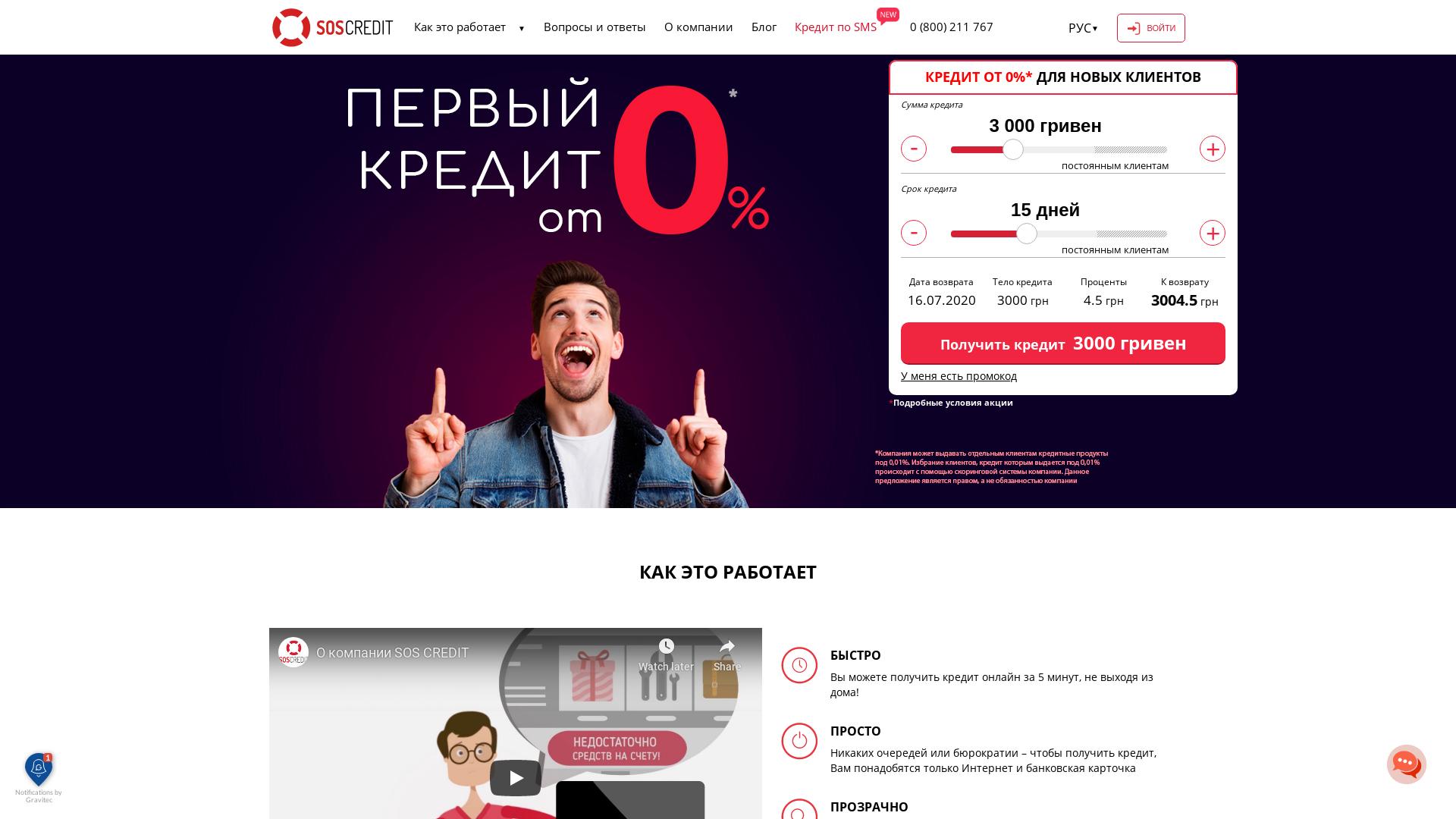 SOS Credit [CPS] UA website