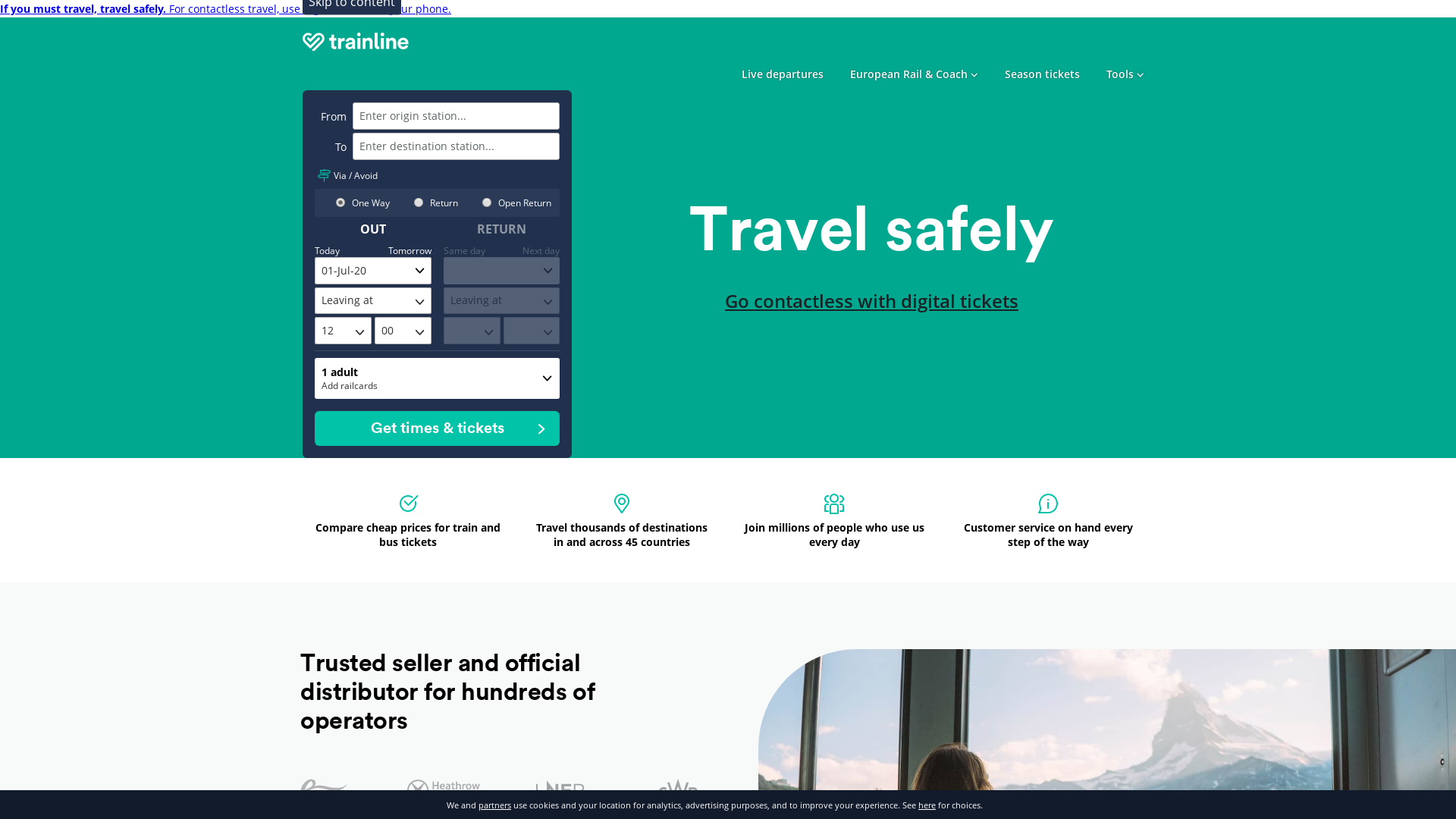Trainline WW website