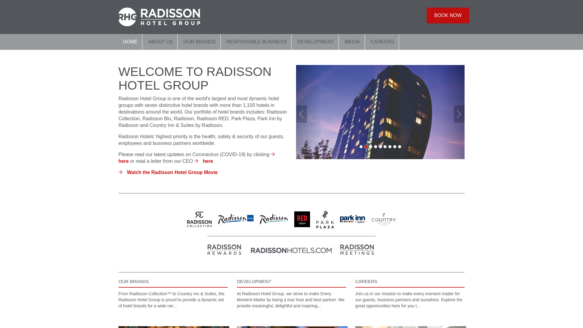 Radisson Hotel Group many GEOs website