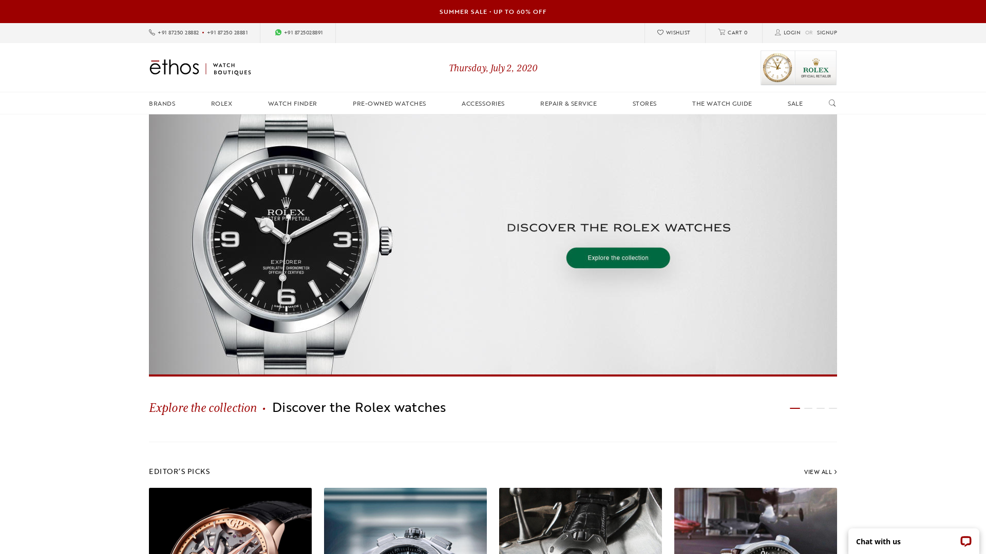 Ethos Watches [CPS] IN website