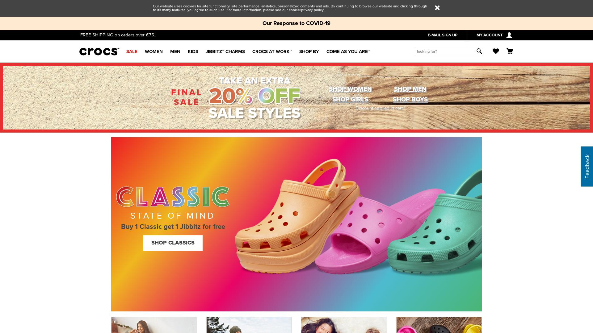 Crocs EU CPS website