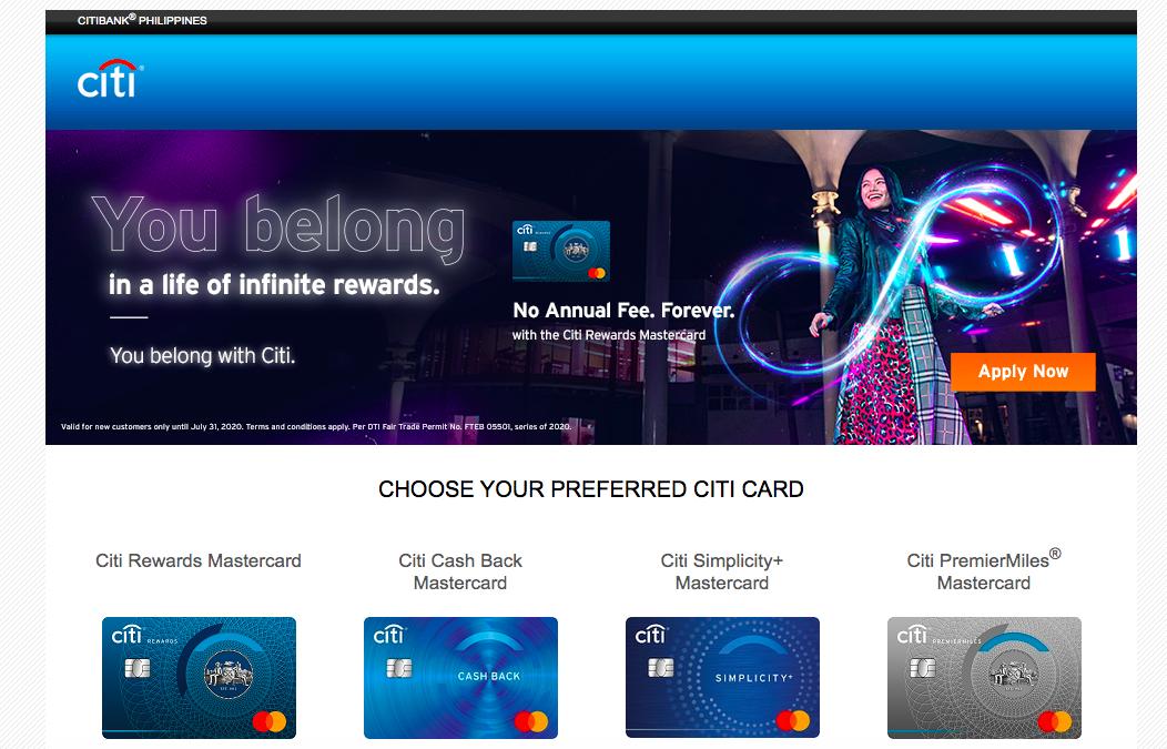 Citibank PH Credit cards website
