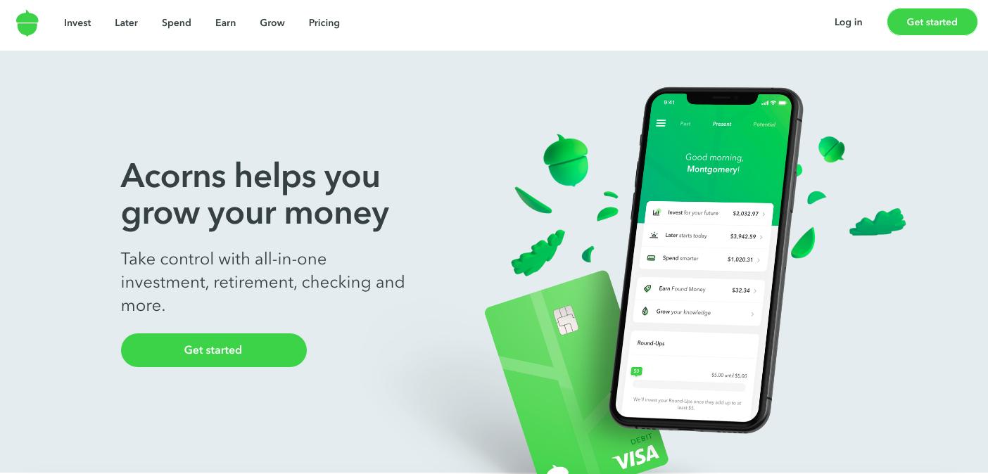 Acorns Invest website