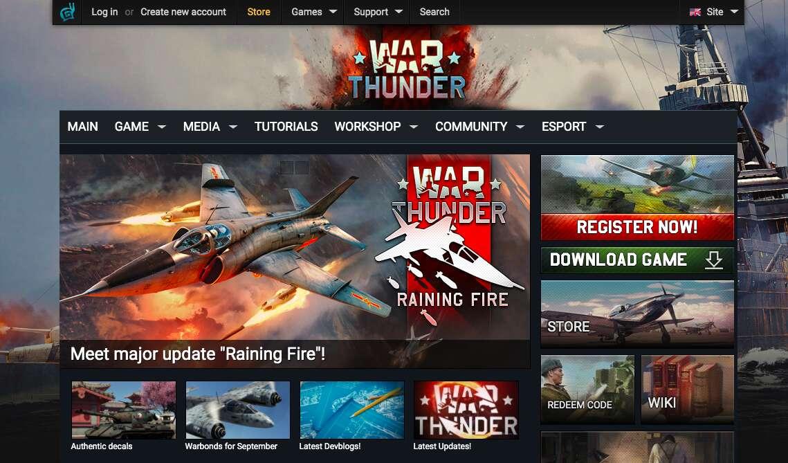 War Thunder website