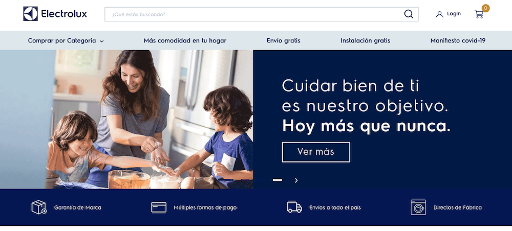 Electrolux Colombia website