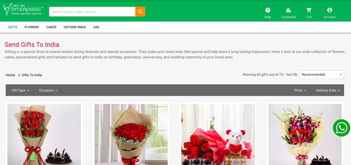 Ferns N Petals website