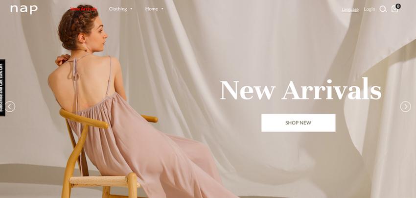 Nap Loungewear website