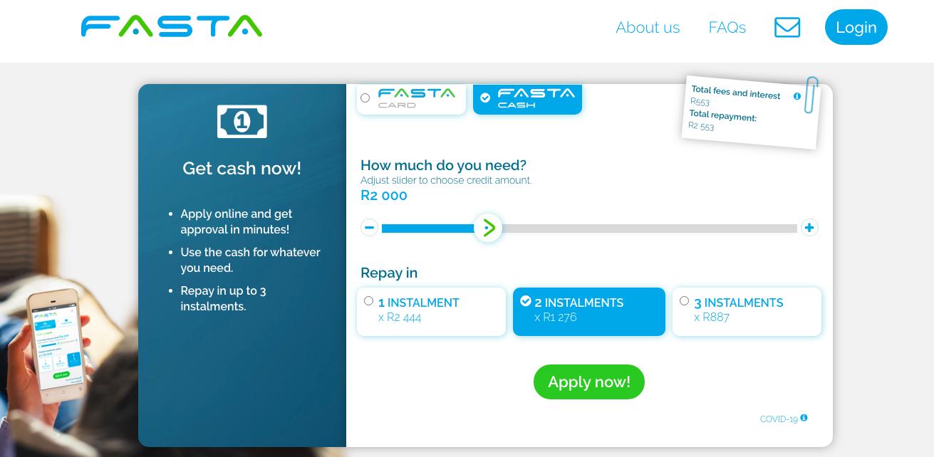 Fasta Loans website