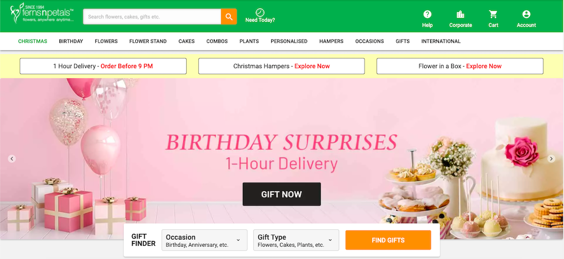 Ferns N Petals SG website
