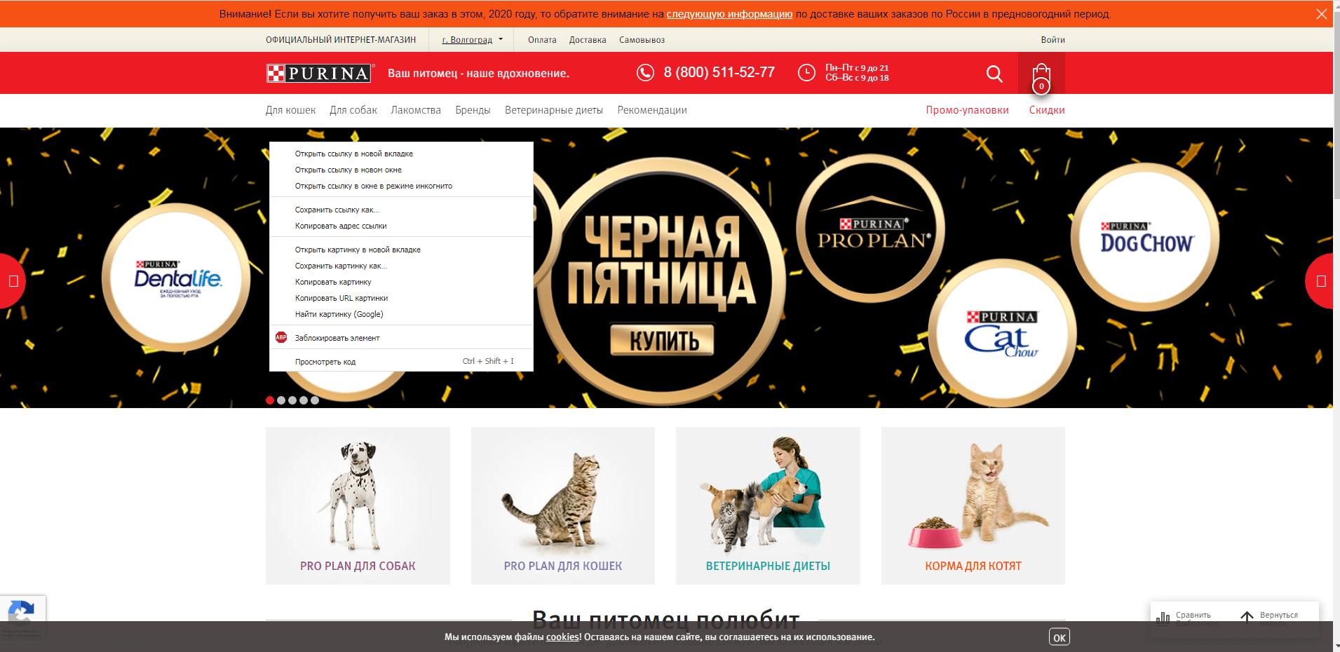 shop.purina.ru website