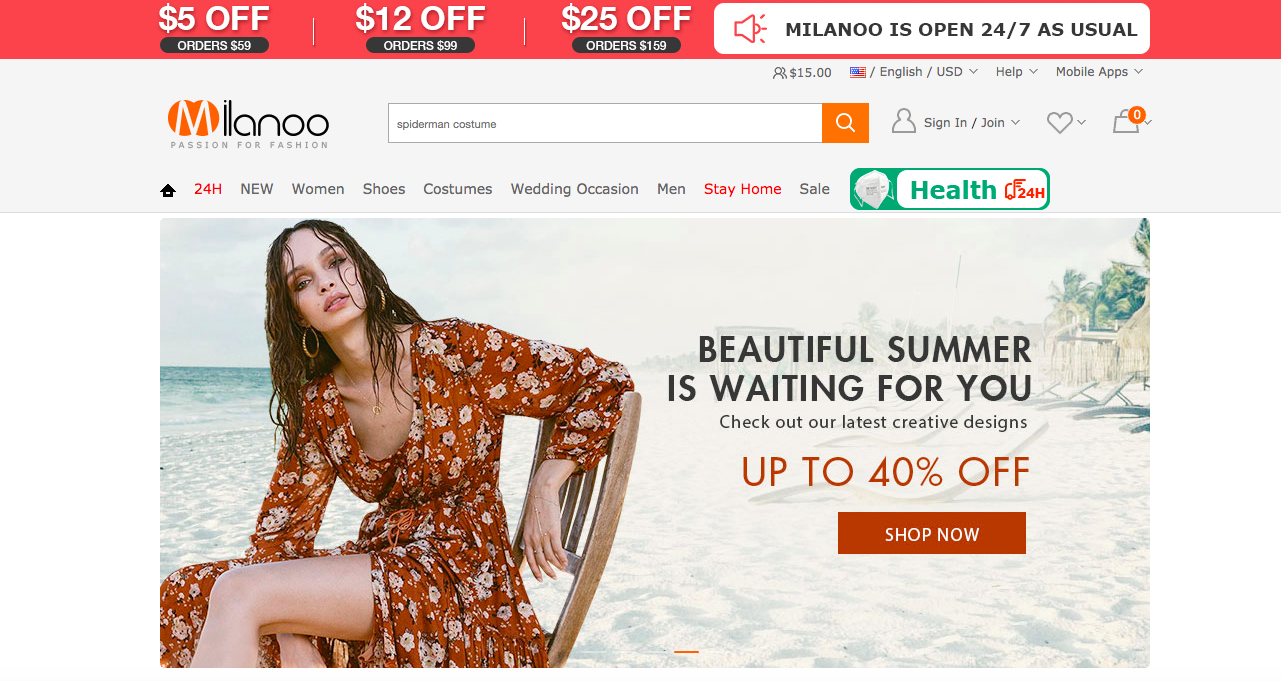 Milanoo website