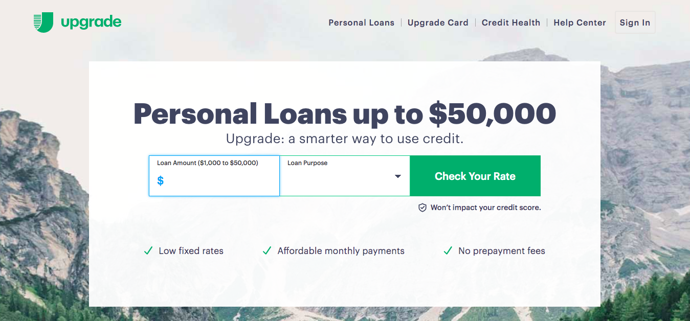 Upgrade Loans and Credit Cards website