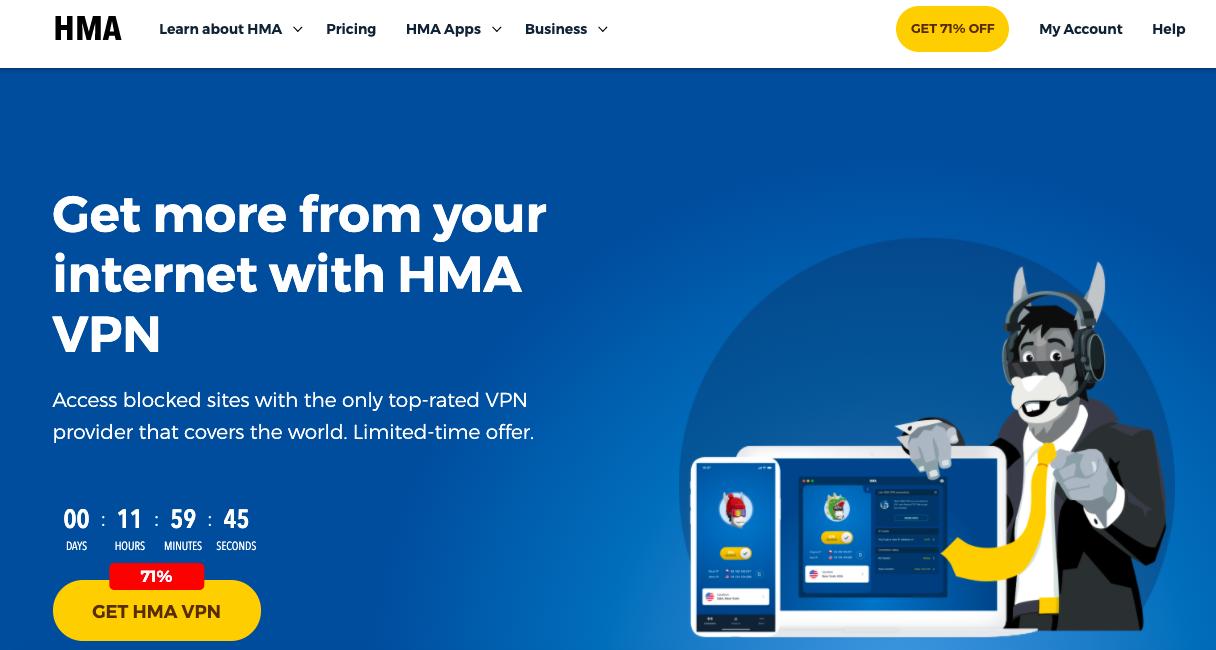 HideMyAss VPN website