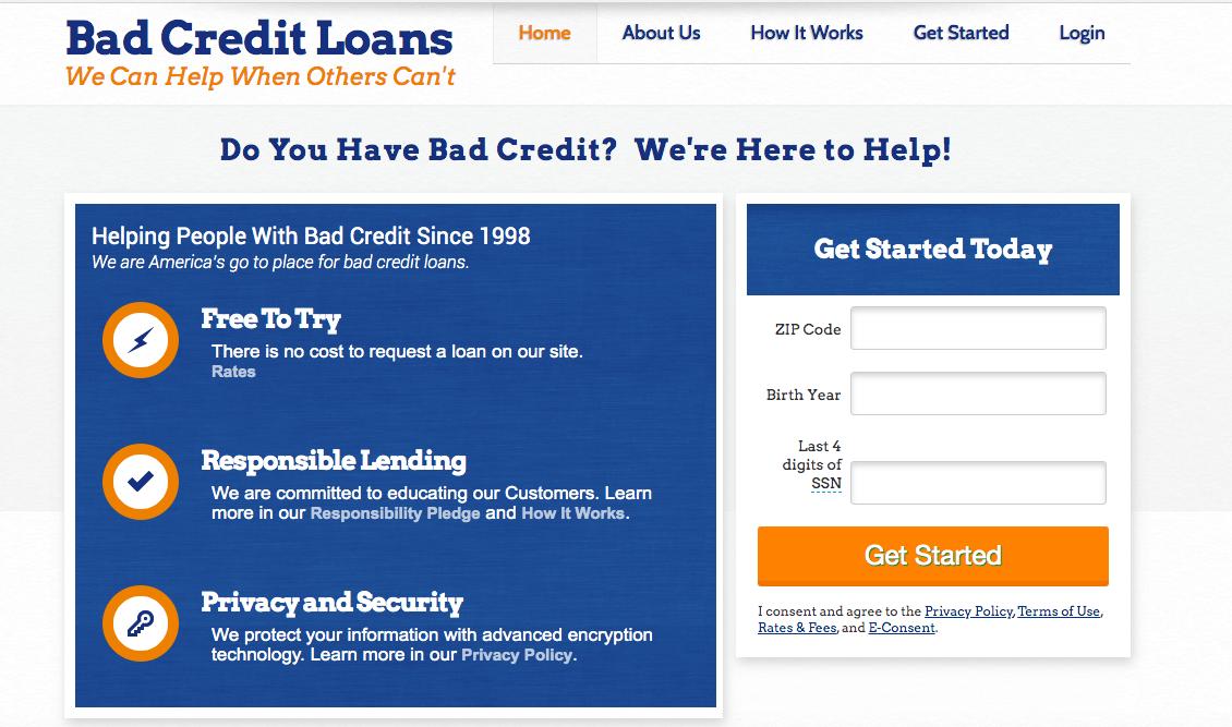 BadCreditLoans website