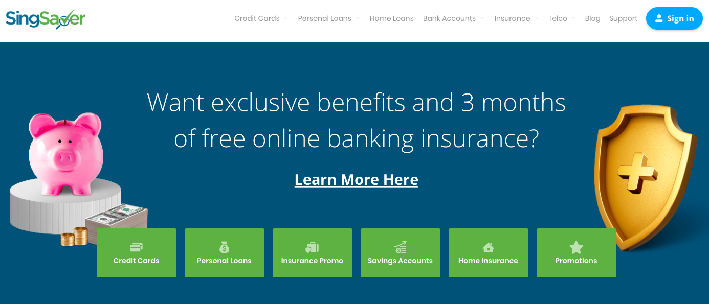 SingSaver Credit Cards website