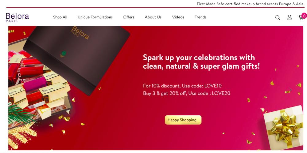 Belora Cosmetics website