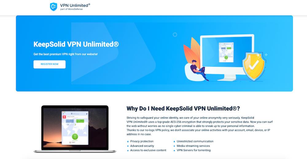 Keepsolid VPN & DNS website